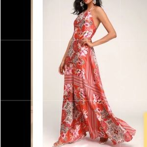 Lulus whirlwind red scarf print satin maxi dress M